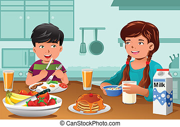 Kids eating healthy breakfast