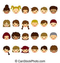 Kids Face Icons Set