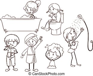 Plain sketches of kids grooming on a white background