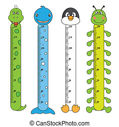 Kids Height Scales. Animals Stickers