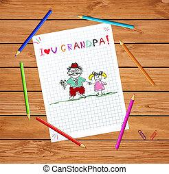 kids illustration with grandpa and granddughter together.