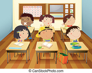 illustration of a kids studying in classroom
