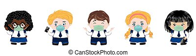 Back to school illustration with kids wears face mask on white background.
