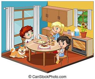 Kids in the dinning room scene on white background