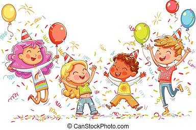 Kids jumping and dancing at birthday party