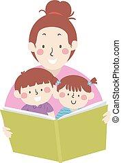 Kids Mom Read Book Storytelling Illustration