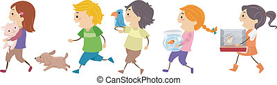Illustration of Kids Carrying Pets