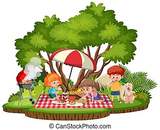 Kids picnic in the park isolated