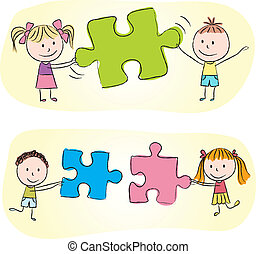Illustration of kids playing with puzzle - chalk drawing