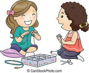 Kids Prayer Beads Girls Illustration