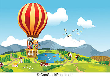 A vector illustration of two kids riding a hot air balloon