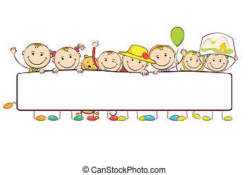 illustration of kids standing behid banner on white background