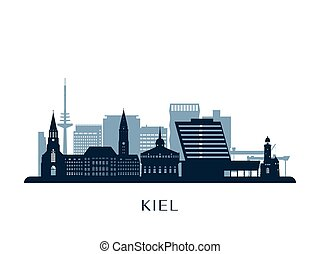Kiel skyline, monochrome silhouette.