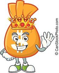King bag of money on white background