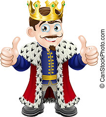 Cartoon illustration of a cute king with crown and cape giving a double thumbs up