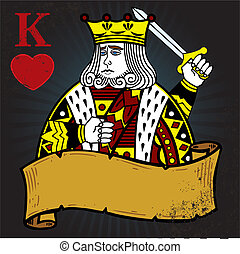 King of Hearts with banner tattoo style illustration. All elements are separate and fully editable