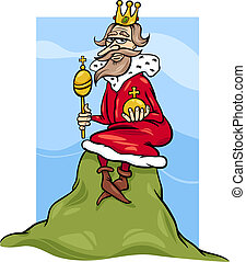 Cartoon Humor Concept Illustration of King of the Hill Saying or Proverb