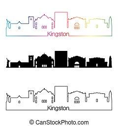 Kingston skyline linear style with rainbow