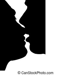 Silhouette kissed in love the man and woman
