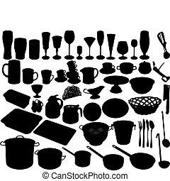 kitchen shut oneself off on white background accessories, vector illustration