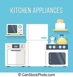 Kitchen appliances set. Flat design