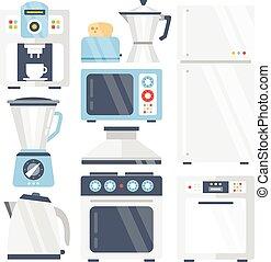 Kitchen appliances set. Flat icons