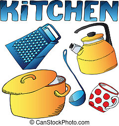 Kitchen dishes collection - vector illustration.