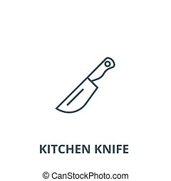 Kitchen knife vector line icon, linear concept, outline sign, symbol