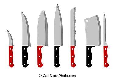 Kitchen knifes cartoon set