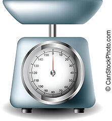 Analogue kitchen scale isolated on white eps10