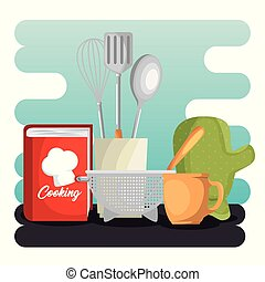 kitchen set utensils icons