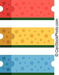 Kitchen sponges set. 3 colorful cleaning sponges. Red, yellow and blue. Vector illustration