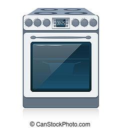 Kitchen Oven isolated on white. Vector illustration. EPS10