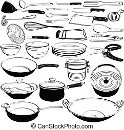 A set of kitchen tool and equipment in doodle drawing.