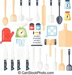 Kitchen tools, utensils icons set