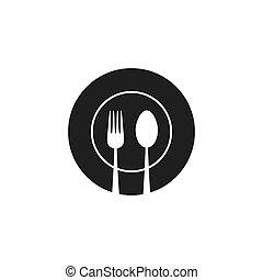 Kitchen utensil spoon plate fork icon. Vector