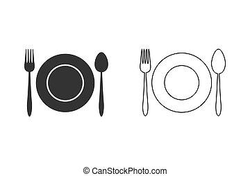Kitchen utensil spoon plate fork line icon set. Vector