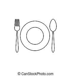 Kitchen utensil spoon plate fork line icon. Vector in flat