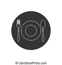 Kitchen utensil spoon plate fork line icon. Vector