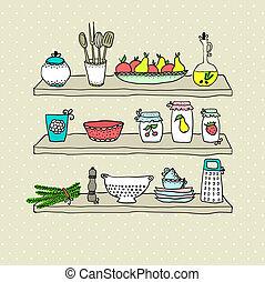 Kitchen utensils on shelves, sketch drawing