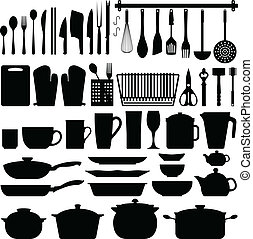 A big set of kitchen equipment and utensil in silhouette. This include cutlery, cooking equipment, plate, pot, and many others.