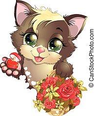 kitten and flower