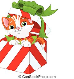 Kitten in a Christmas gift box