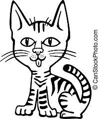 Vector illustration of a cute tabby kitten sitting
