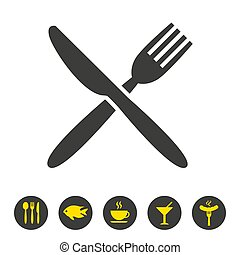Knife and fork icon on white background.