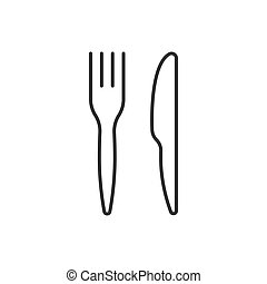 Knife and fork linear icon on white background