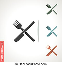 knife and fork vector icon isolated on white background