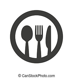 Knife, fork and spoon on white background.