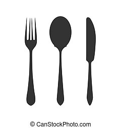 Knife, fork and spoon on white background. Vector
