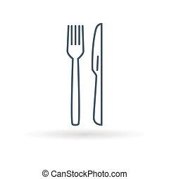 Knife fork icon on white background